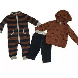Carters Baby Boy's 3 Piece Set Blue/Brown Raccoon